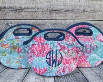 Personalized Lunch Bags - Lilly Pulitzer Inspired Lunch Boxes - Monogrammed Insulated Lunch box