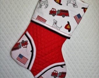 fireman dalmation handmade custom christmas stocking - Custom Christmas Stockings
