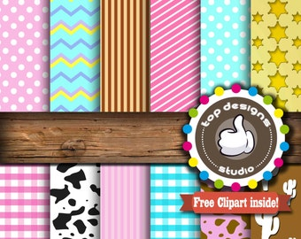 """SALE Kitten Sheriff Digital Paper : """"Sheriff Girl Digital""""- Cowgirl ClipArt, Western Scrapbook Paper, Instant Download, Commercial Use"""