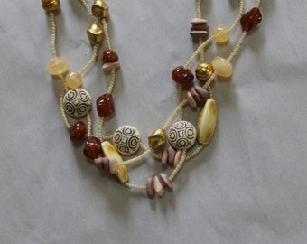 Multi-Strand Necklace, Long Necklace, All Sorts of Items on it, 57 Inches Long Including The Double Strand, Beautiful Art Work, Tiny Beads