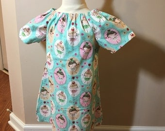 3t aqua ballerina print peasant dress