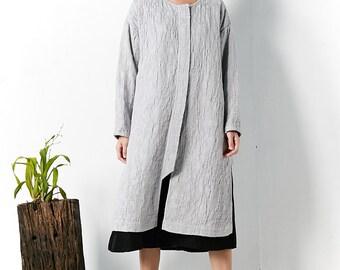 Gray jacquard linen jackets coats  BonLife