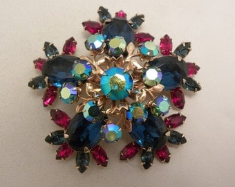 Large Vintage Beau Jewels Blue, AB & Red Glass Brooch