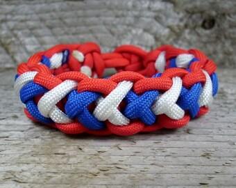 Paracord Survival Bracelet with a Cobra 2X Weave, Parachute Cord Cobra Bracelet, Mens Survival Para Cord Jewelry, Kids Jewelry,