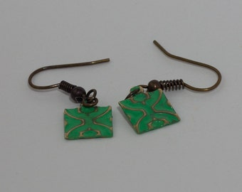 Green Earrings - Hand Embossed with Patina