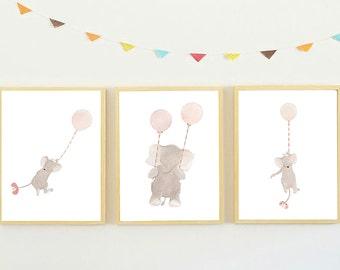 Elephant Nursery Wall Art,Baby Room Art,Elephant Girls Nursery Art,Girls Nursery Art,Baby Girl Nursery Art,Pink Decor,Elephant Kids Room