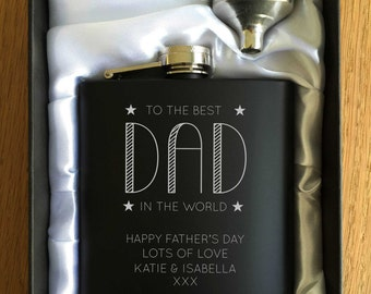Personalised Engraved Black Hip Flask - Fathers Day Present - Gift Box - Dad, Daddy, Grandad