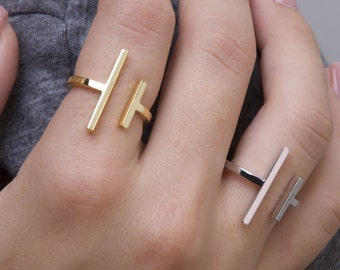9k Parallel Bars, Solid Gold Ring, Modern Minimalist Ring.