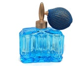 Vintage Light Blue Glass Perfume Bottle with Gold Atomizer