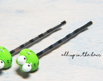 Frog Bobby Pins - Animal Bobby Pins - Green Bobby Pins - Frog Hair Pins - Animal Hair Pins - Green Hair Pins