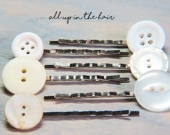Button Bobby Pins - Button Hair Pins - White Bobby Pins - White Hair Pins - White Button Bobby Pins - Bobby Pin Set - Hair Pin Set