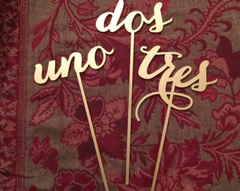 Reception Table Numbers - Set of 1-30 - Spanish - Español- Numeros de Mesa - Gold - Silver - DIY - Elegance Line