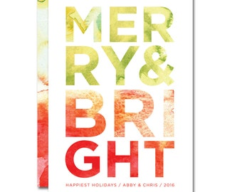 Christmas/Holiday Card - 5x7 - Merry and Bright - Watercolors - Printable and Personalized
