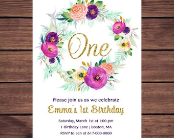 Purple and Gold 1st Birthday Invitation Girl, Any Age Purple and Pink Floral First Birthday Invitation, Girl 1st ONE Birthday Printable