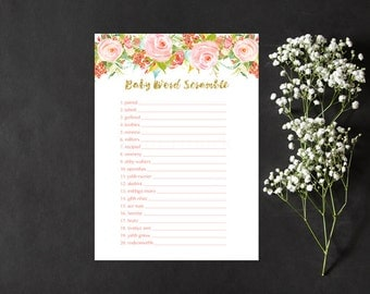Floral Word Scramble Baby Shower Game, Light Floral Gold Baby Word Scramble Shower Game, Instant Download PDF Printable
