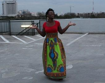 Long One Size Dashiki Skirt