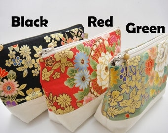 Japanese makeup bag, Zipper pouch, Golden flowers