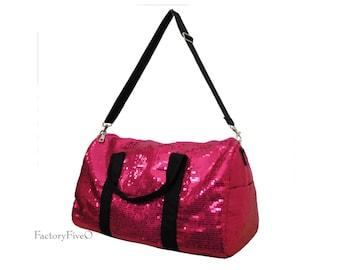 Hot Pink Sequin Weekender Duffel - Bridesmaid gift - dance- ballet  gym bag