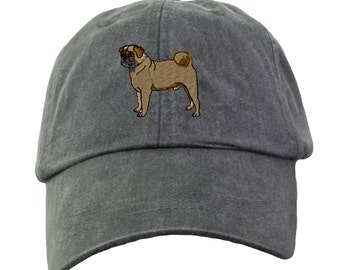 Pug Hat - Embroidered. Dog Lover Hat. Embroidered Hat. Cool Mesh Lining & Adjustable Leather Strap. 33 Colors Avail. HER-LP101