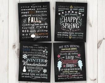 Chalkboard Four Seasons Subway Art  - Printable Digital Files - Instant Download!