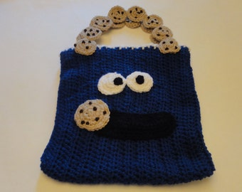 Crocheted Cookie Monster Halloween Candy Bag