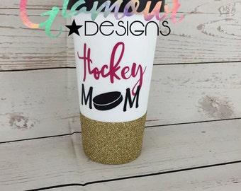 Hockey Mom Glitter travel mug