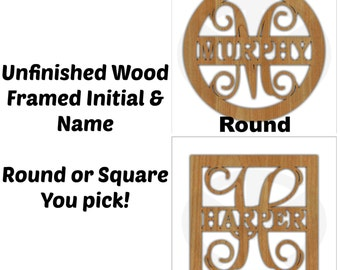 Unfinished Wood Framed Monogram with Name Door Hanger Laser Cutout w/ Your Initial, Home Decor, Various Sizes, Script, Family
