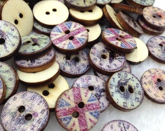 100pcs European Style 2 Holes Wood Buttons 15mm Sewing Mix WB258