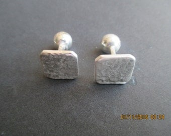 Cufflinks ...Sterling Silver..Square Shape ...Hammered Look..New..Taxco