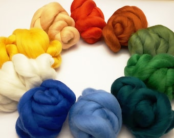 SET OF 10 Wool roving, Different colors 21 mic wool tops 8,82 oz, Merino wool color pack, Soft to skin, Pack for felting