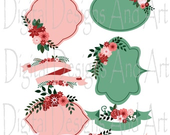 Red flower clipart, Flower wedding clipart, Flowers digital clip art, Red tag clipart, Red label clipart,  Invitation Label clipart,