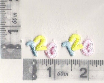 """Small """"123"""" iron on patch"""
