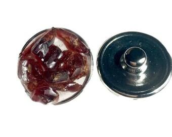 Snap charm Garnet gemstone snap jewelry jewelry interchangeable charm bracelet