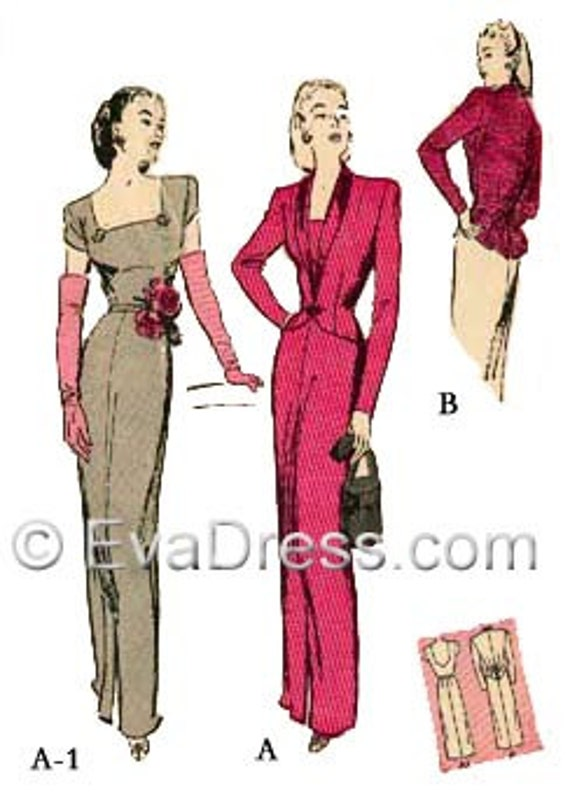 1940s Sewing Patterns – Dresses, Overalls, Lingerie etc 1944 Evening Dress & Jacket Pattern by EvaDress  AT vintagedancer.com