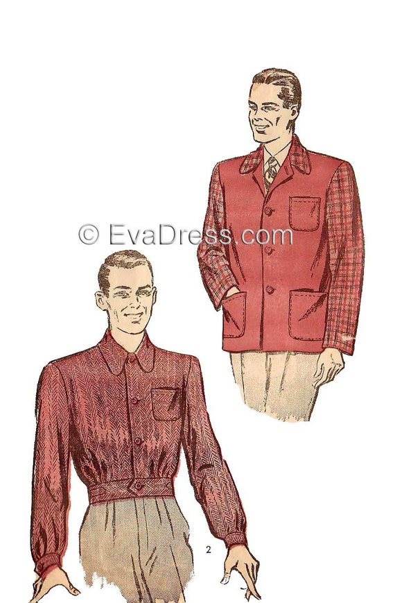 Men's Vintage Reproduction Sewing Patterns 1940s Jackets Eisenhower Multi-size EvaDress Pattern  AT vintagedancer.com