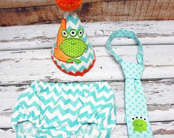 Monster Cake Smash Outfit,Boys Cake Smash Outfit,Monster First Birthday,Applique Embroidered Birthday Hat Tie Diaper Cover
