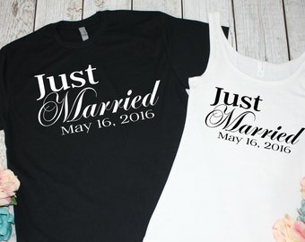 Just Married Shirts. Newlywed Shirts. Mr and Mrs Shirts. Honeymoon Shirts. Bride and Groom Shirts. Wedding Date. Bridal Shower Gift.