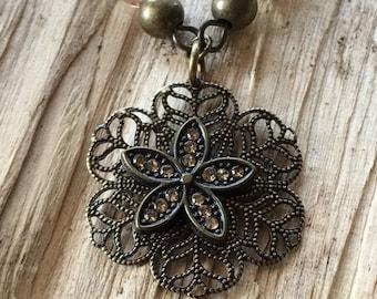 Antique Brass Flower Necklace