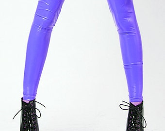 Bubblegum Purple Stretch Vinyl Leggings Tights Nylon Spandex Violet