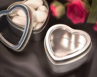 Metal Heart Shaped Mint Tins (Pack of 10) Silver Favor Containers