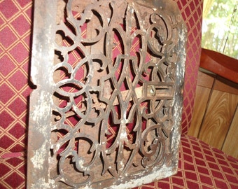 Antique Cast Iron Grate Metal Salvage Floor Heat Register, Rustic Garden Art, Antique cast iron floor grate