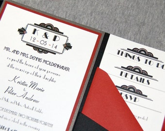 Art Deco Style Wedding Invitations Suite