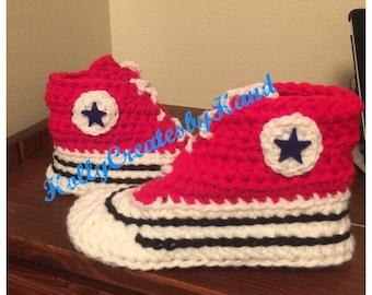Crochet Converse Slippers, Crochet Converse, Women Converse Slippers, Girl's Converse Slippers
