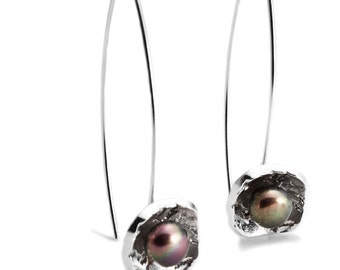 Medium Texture Earrings - Sterling Silver with Pearls