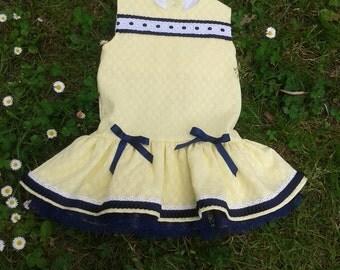 vestido monaco piqué amarillo niña , ropa bebé puntilla azul marino , traje infantil brocado talle bajo , ropa de niños hecha mano ,