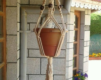 "31"" Hand dyed natural brown plant hanger,cotton cord plant/pot holder 6mm hanging planter indoor/outdoor birdfeeder rope planter"