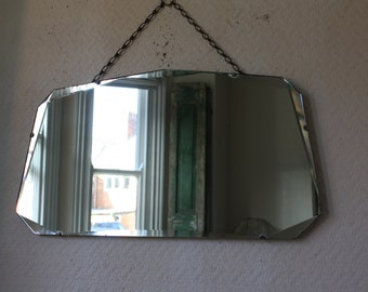 Large Vintage 50s Mirror with Beveled Glass on Original Chain