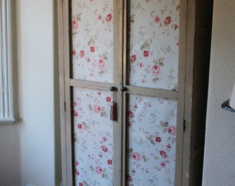 Original Vintage French Linen Cupboard with Fabric Doors and Original Paintwork