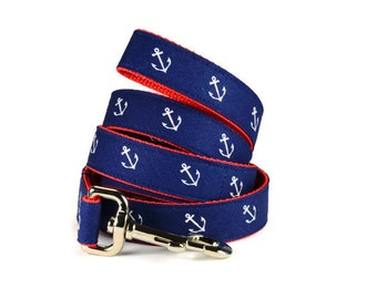 Navy Anchor Dog Leash, Nautical Dog Leash, Navy  Dog Lead, Preppy Dog Leash, Navy White Leash,  Nautical Dog Leash, Preppy Dog Leash