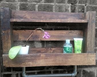 Reclaimed Wood & Industrial Iron Pipe Shelving Unit | Rustic Reclaimed Bathroom Kitchen Shelf